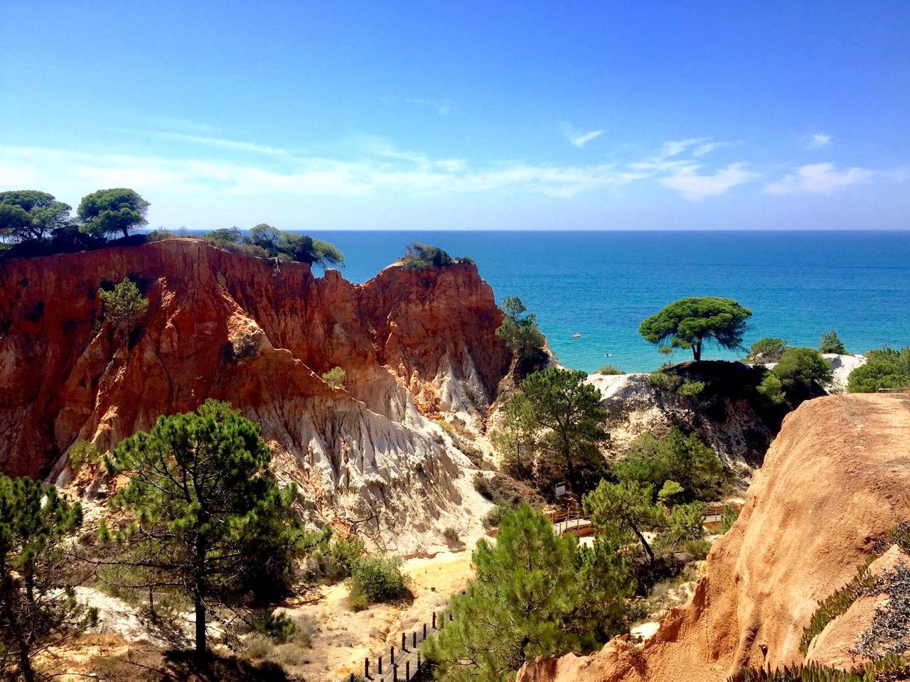 Pine cliffs of Praia dos Olhos de Água, Algarve, Portugal