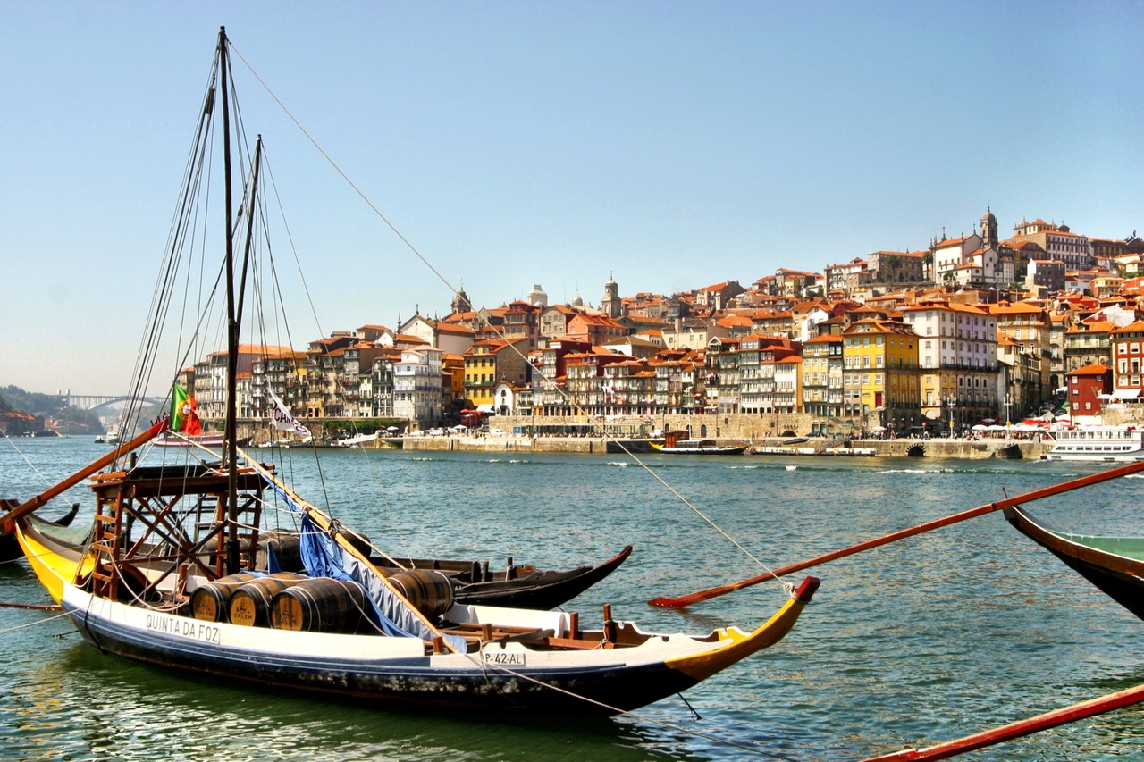 Traditional Rabelo boat in the Douro in Porto