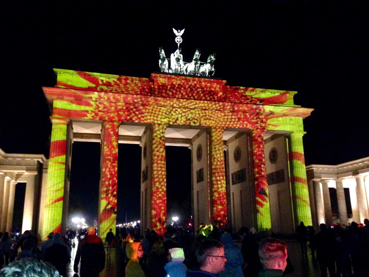 Spectacular light projections on Brandenburg Gate, Brandenburger Tor in Berlin, Germany