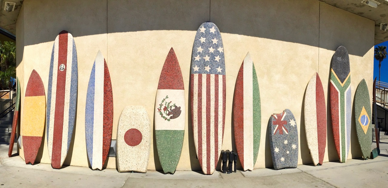 'Surfin USA' terrazzo surfboards, Huntington Beach, California