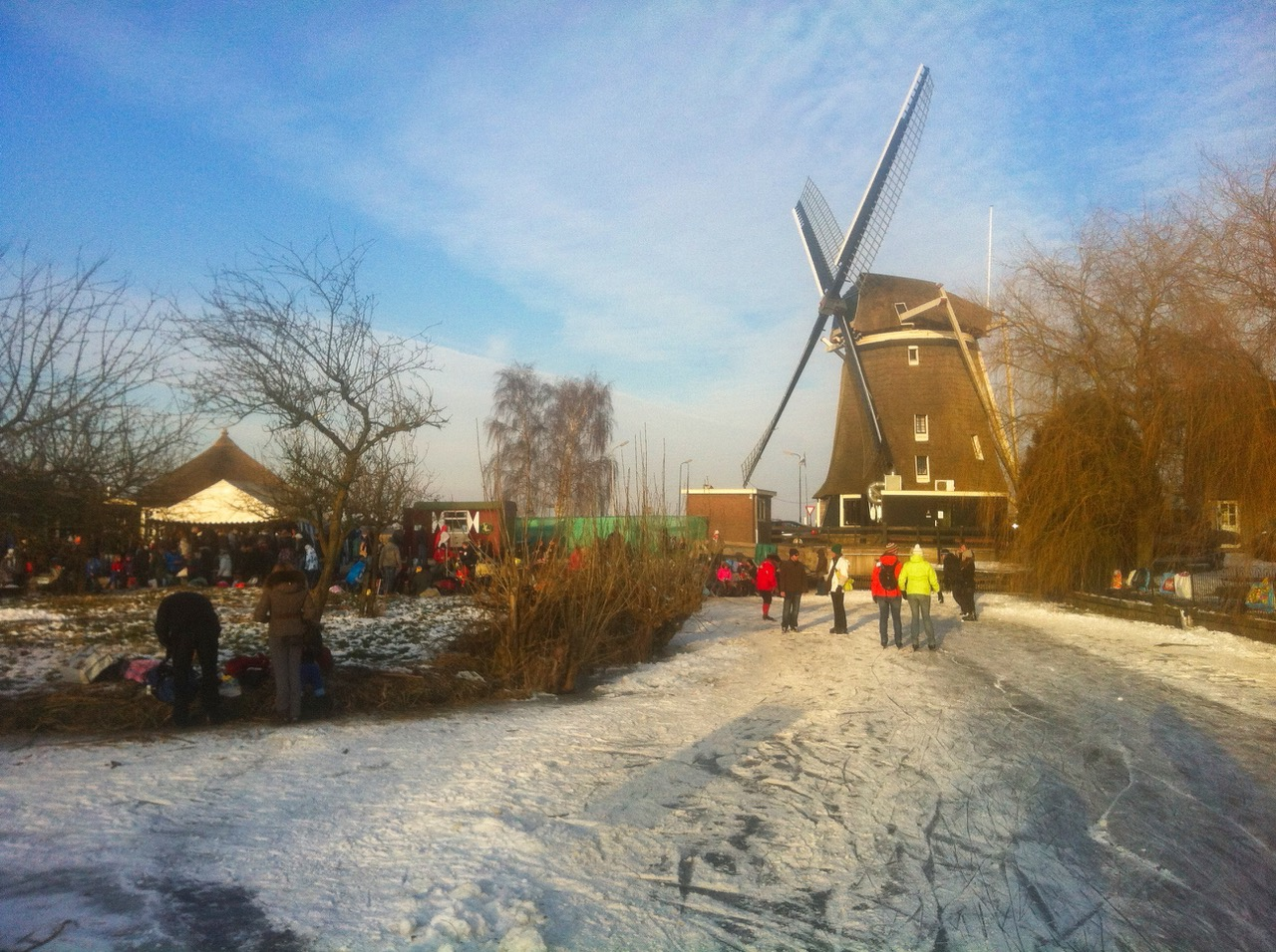 Ice skating in The Netherlands, wind mill