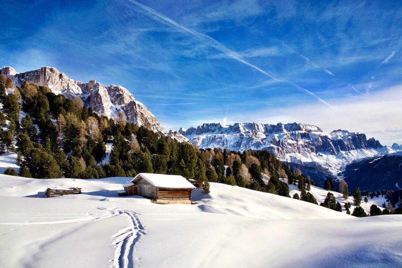 Winter landscape Val Gardena Dolomites