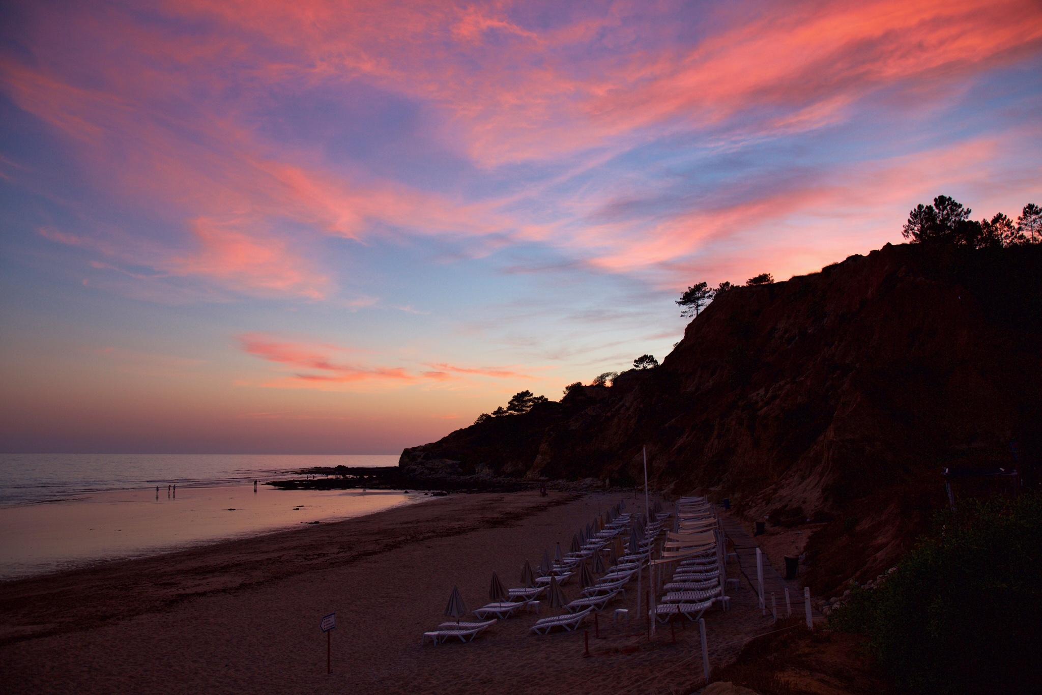Sunset at Praia de Olhos de Água (Olhos de Água Beach), Algarve, Portugal