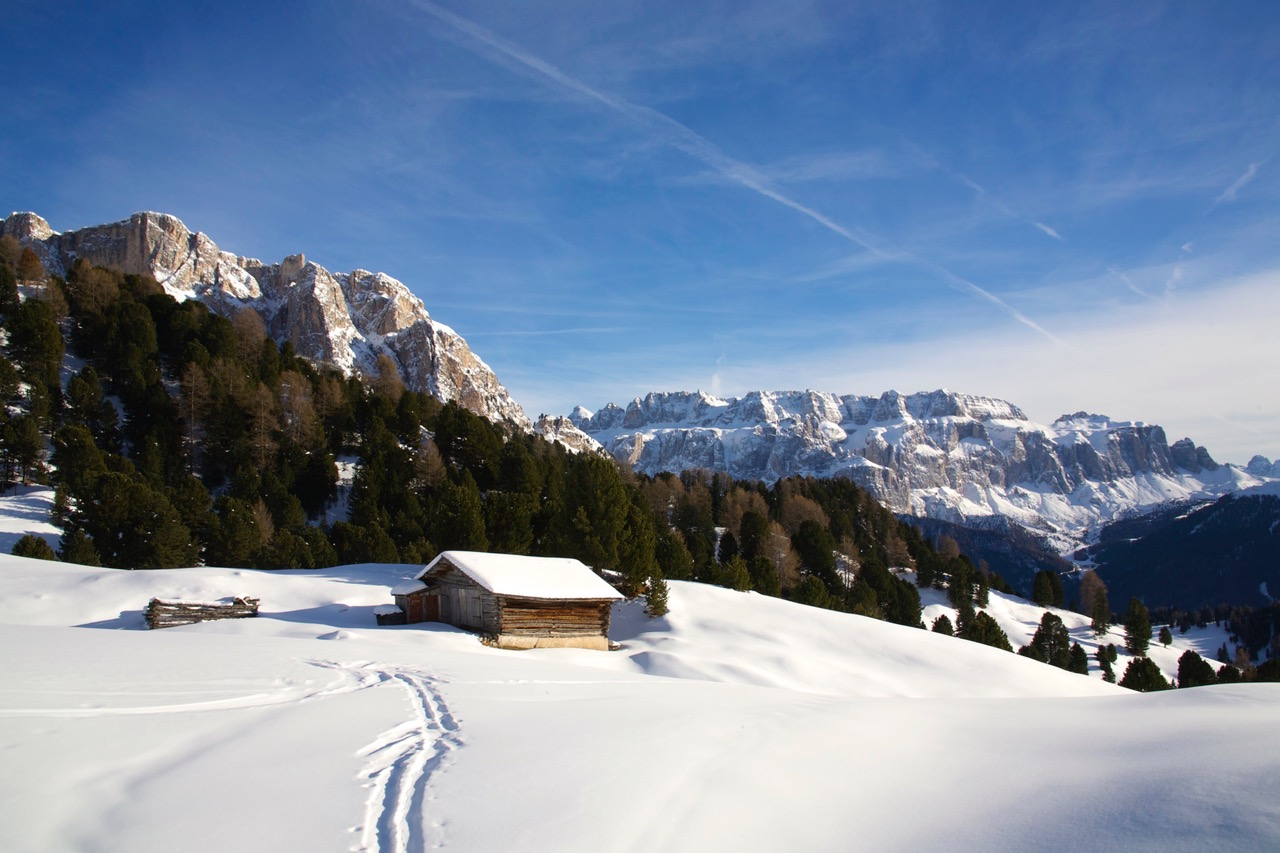 Winterlandscape of Val Gardena in the Dolomites, Italy