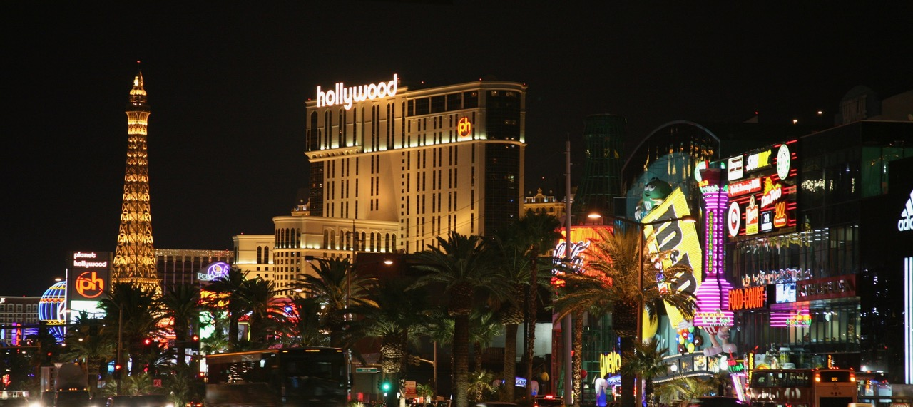 Night view of The Strip in Las Vegas