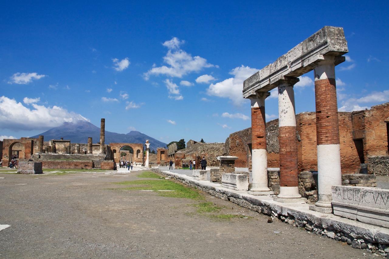 Pompei with Vesuvius volcano in the background