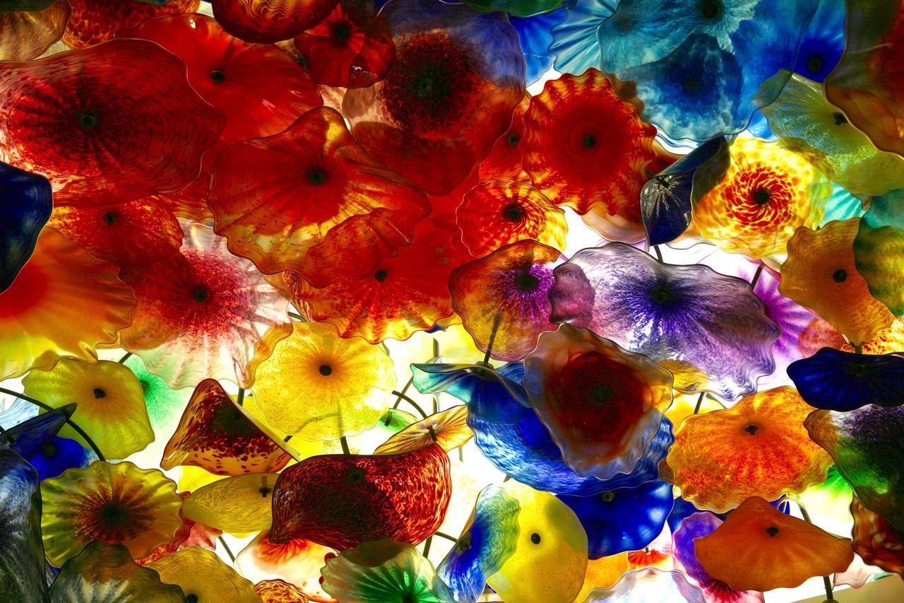 Colorful reception ceiling at Bellagio Hotel in Las Vegas