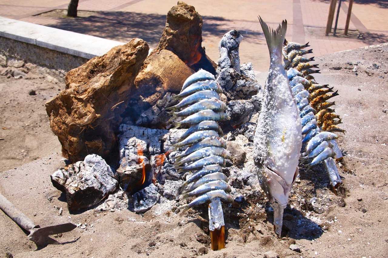 Sardines grilled at the beach in Fuengirola, Spain