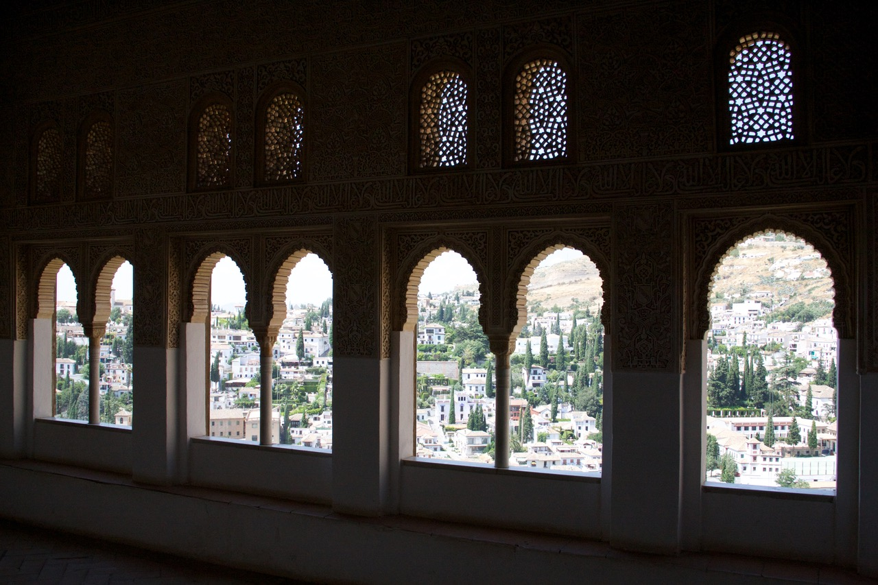 Window view at Nasrid Palace, Alhambra, Granada