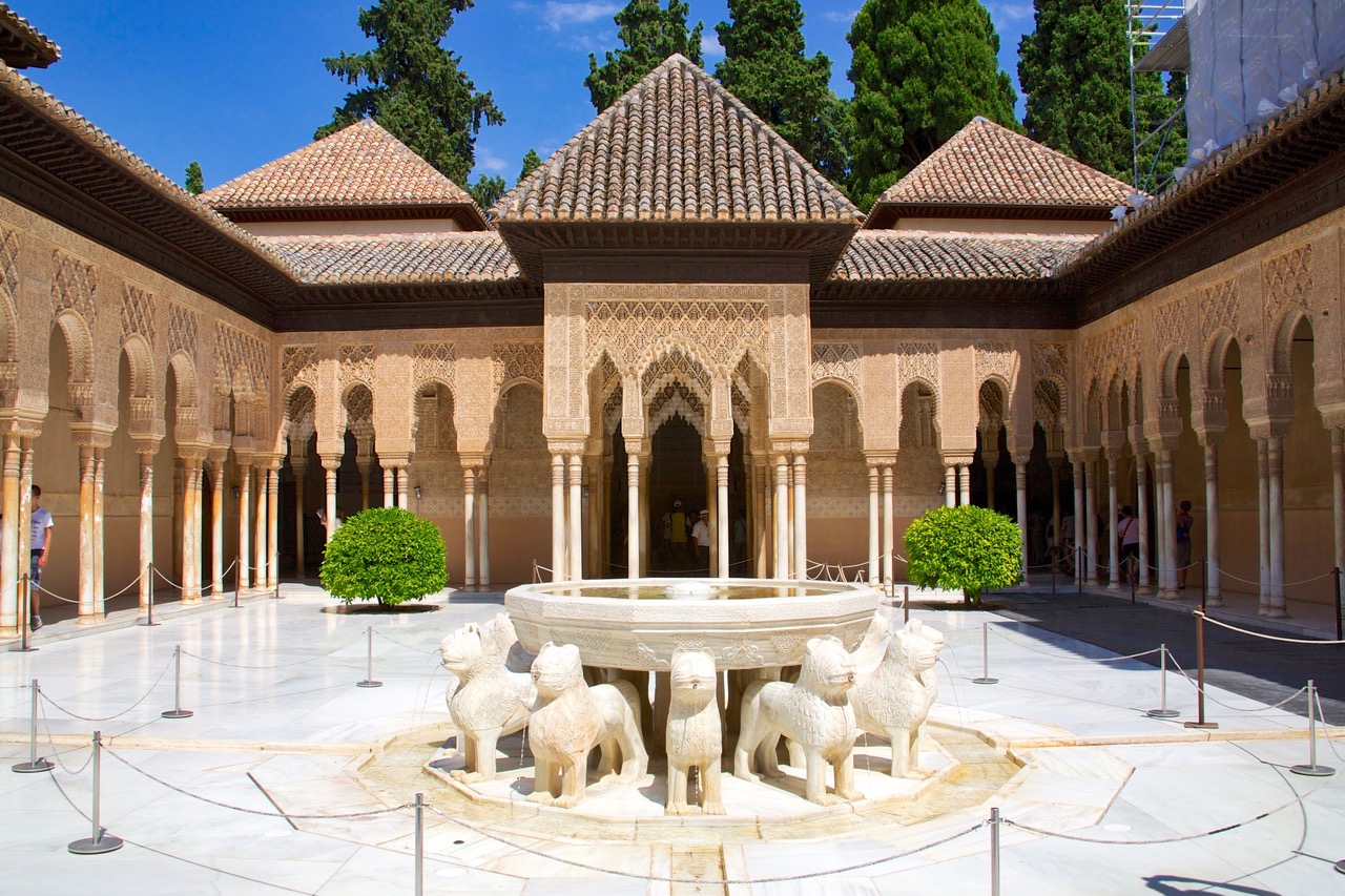 The Lions of the Courtyard of the Lions in the Nasrid Palace, Alhambra, Granada
