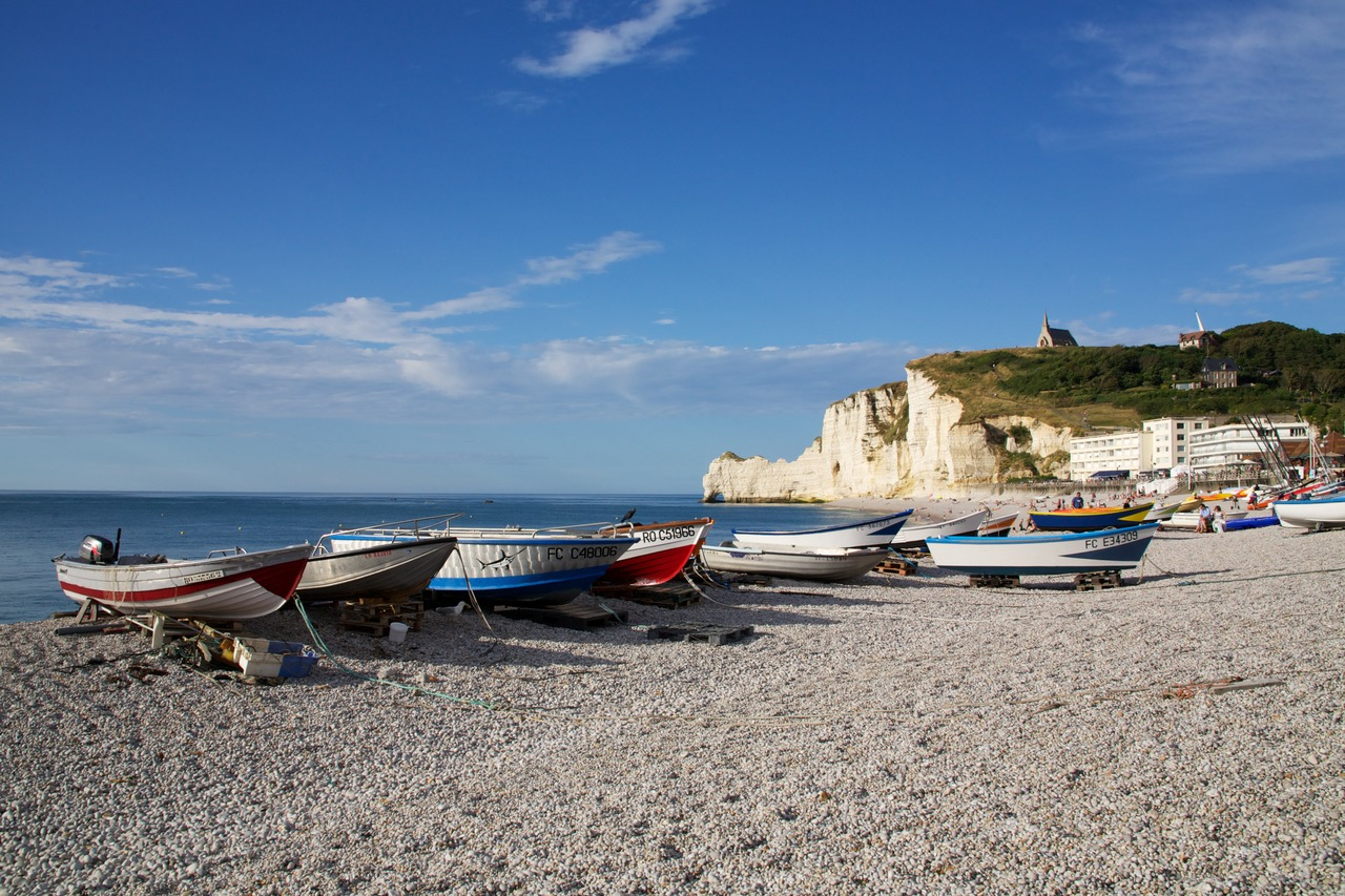 Fishing boats on the beach of Étratat