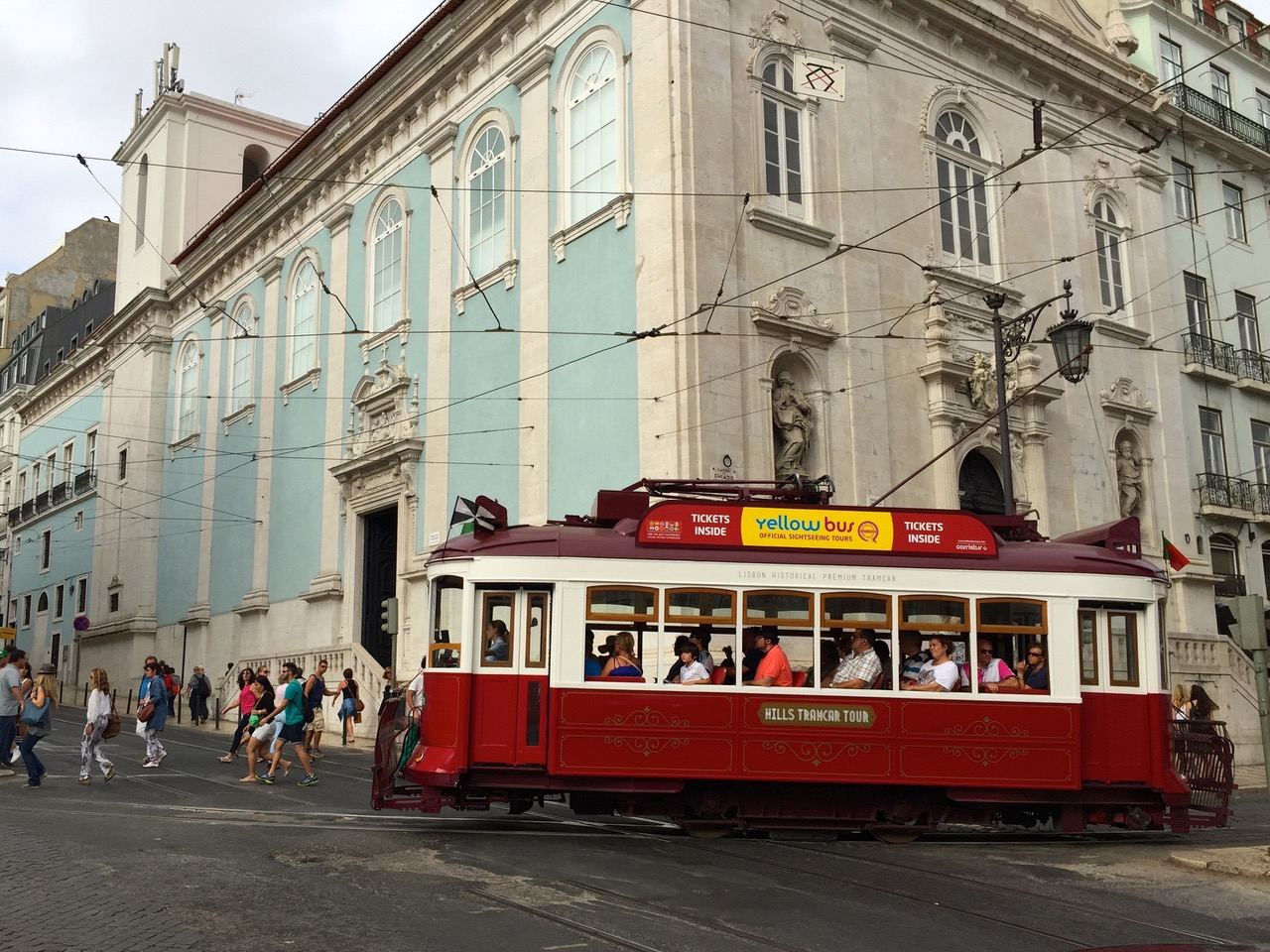 Traditional tram at Largo do Chiado square in Lisbon