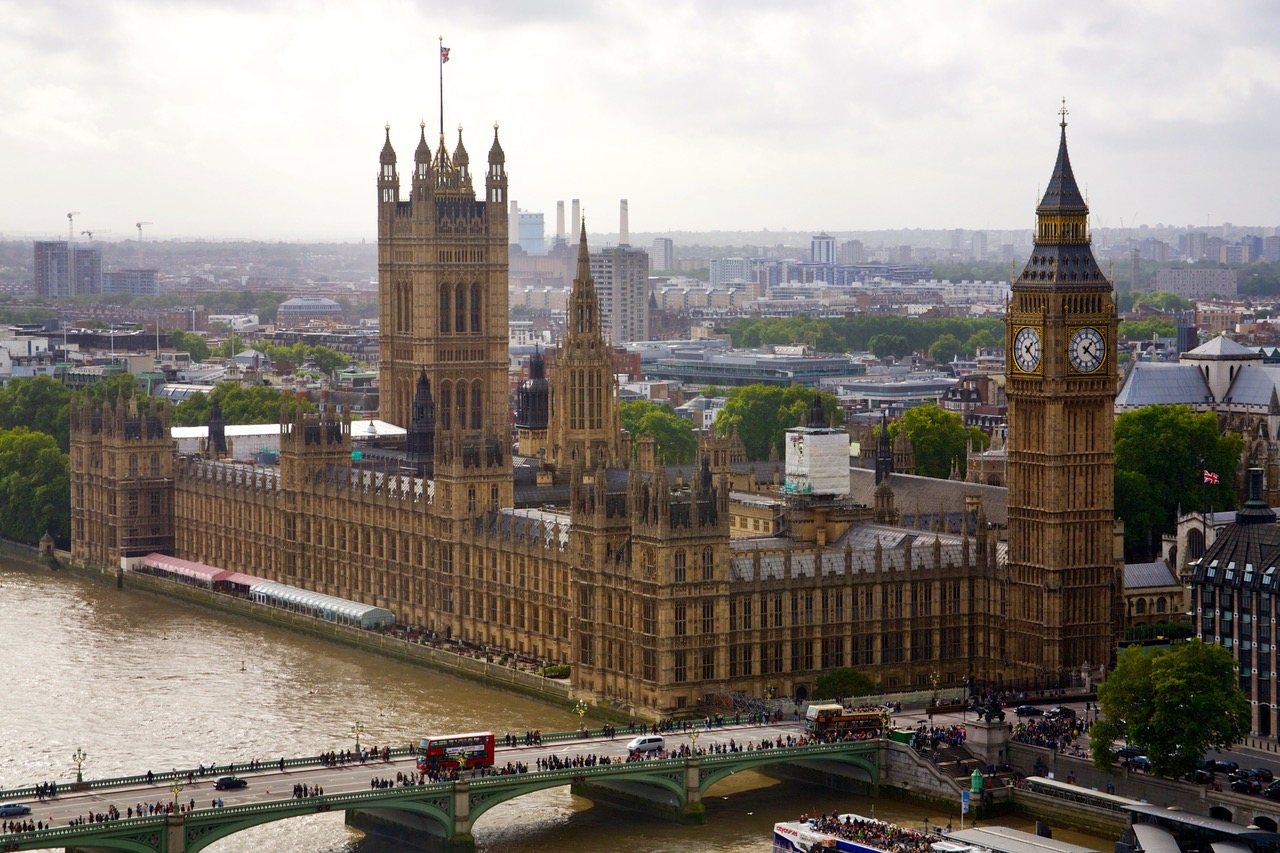 Birds eye view of the Palace of Westminster in London