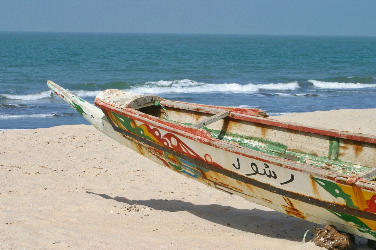 Traditional fishing boat at Kololi Beach in Gambia