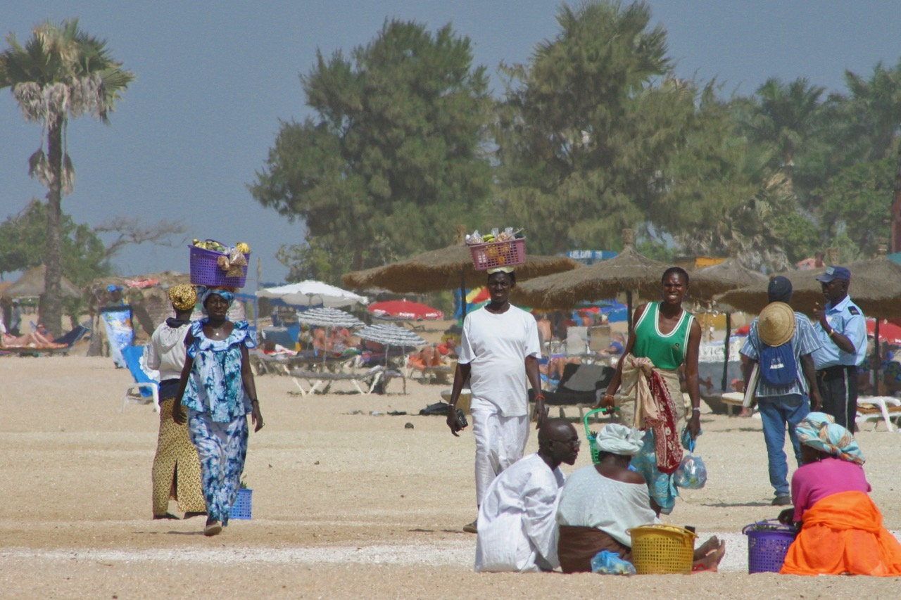 Beach activity on Kololi Beach in Gambia
