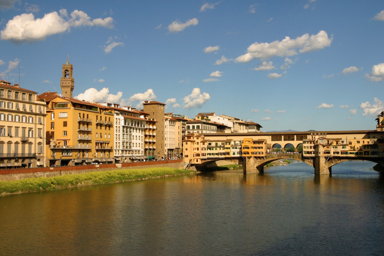 Full view on Ponte Vecchio in Florence, Italy