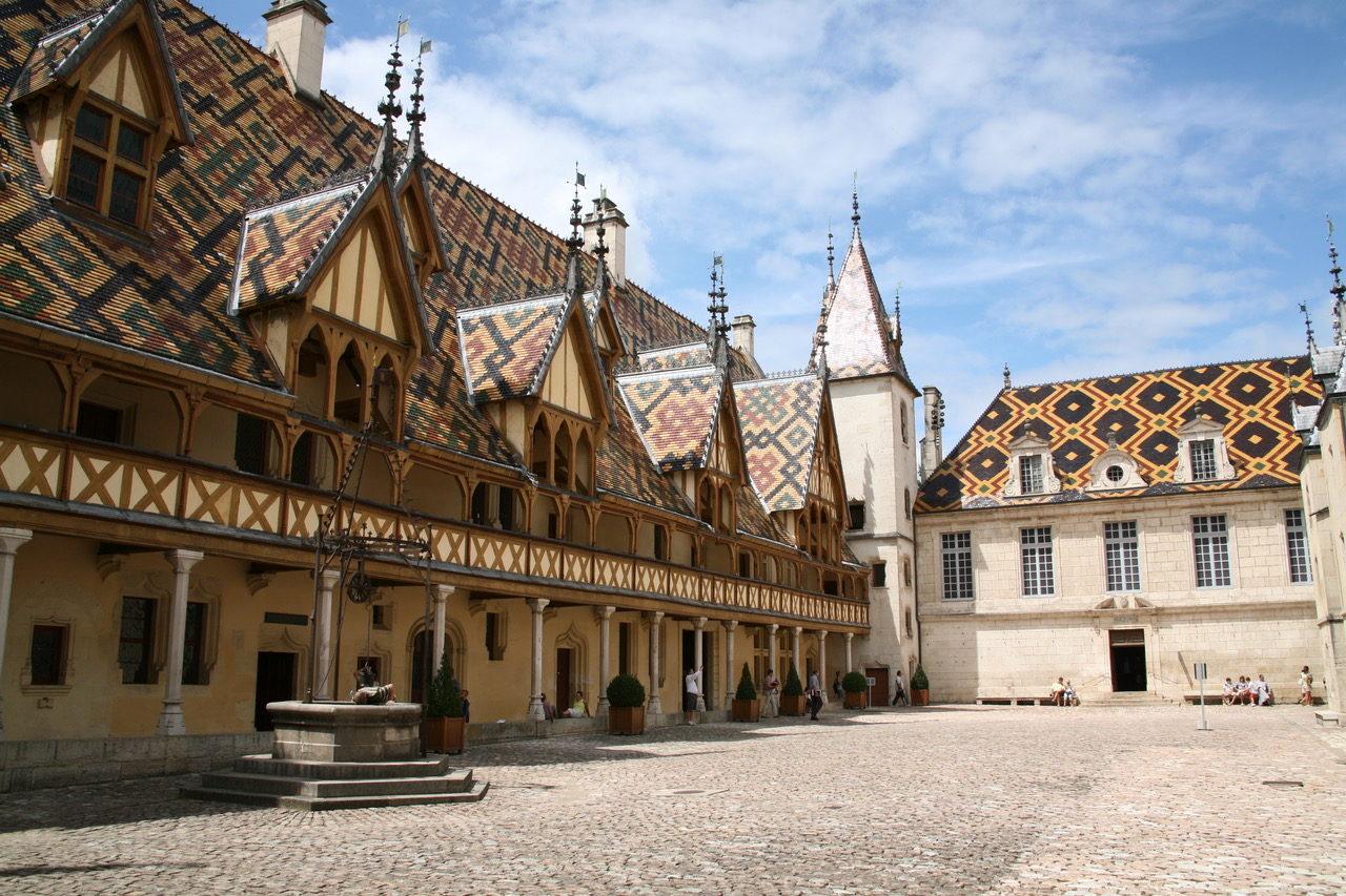 Patio of Hospices de Beaune in Beaune