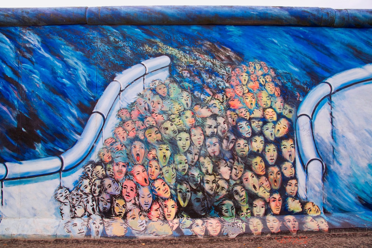 Impressive painting on the Berlin Wall in Berlin, Germany