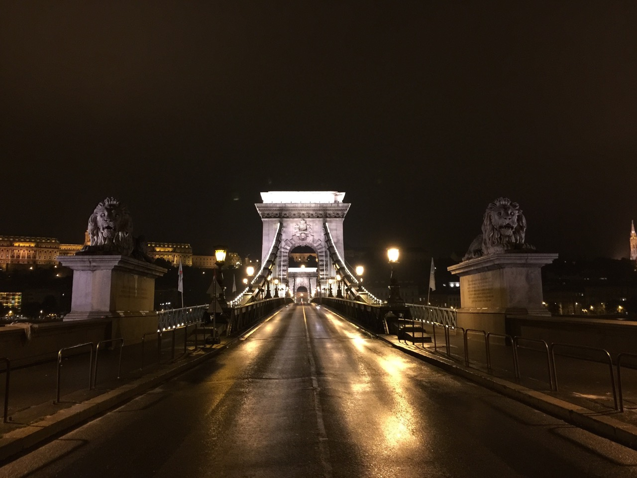 The Chain Bridge at night in Budapest, Hungary