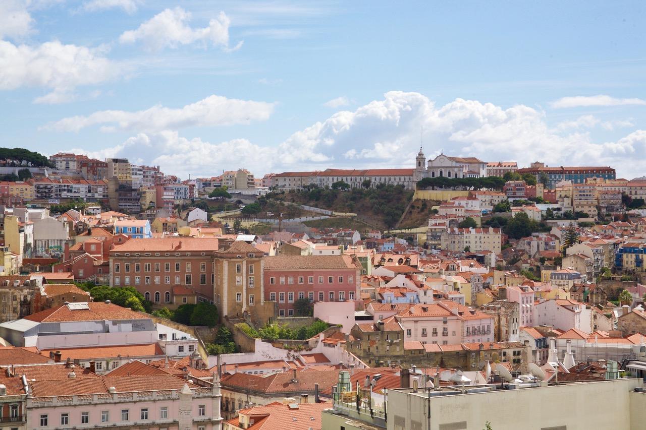 View on Miradouro de São Pedro de Alcãntara in Lisbon