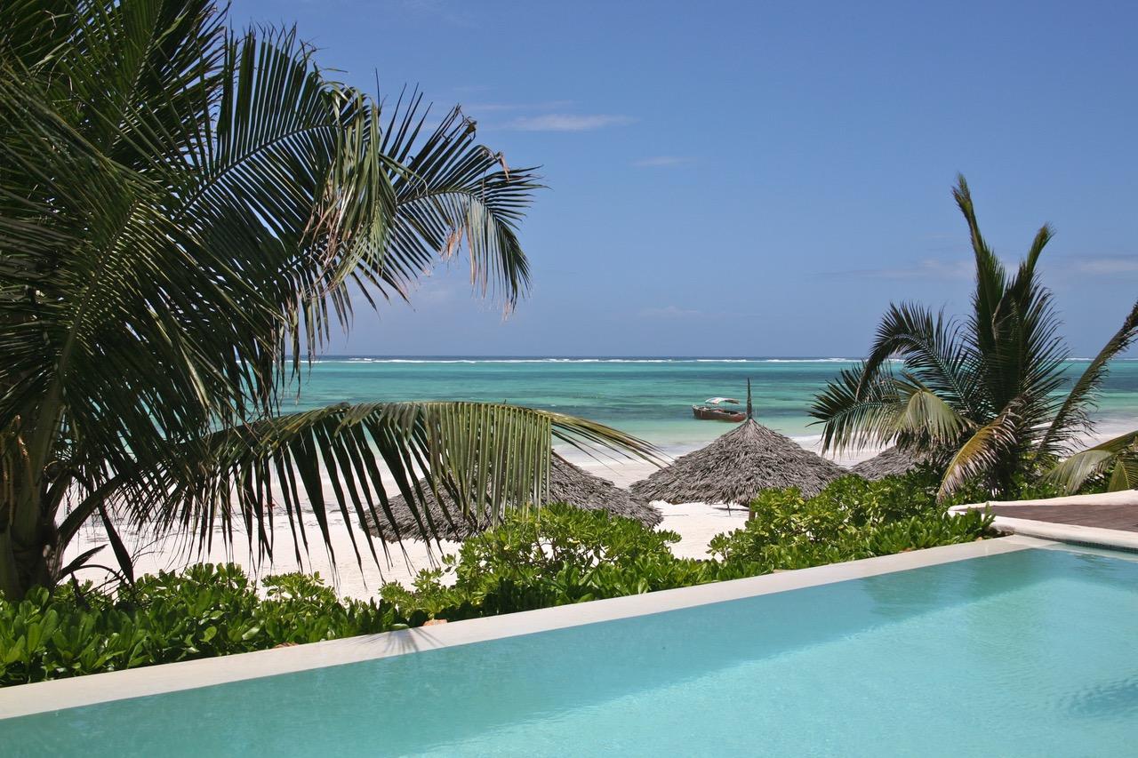 View on the beach from the pool of Sunshine Hotel, Zanzibar