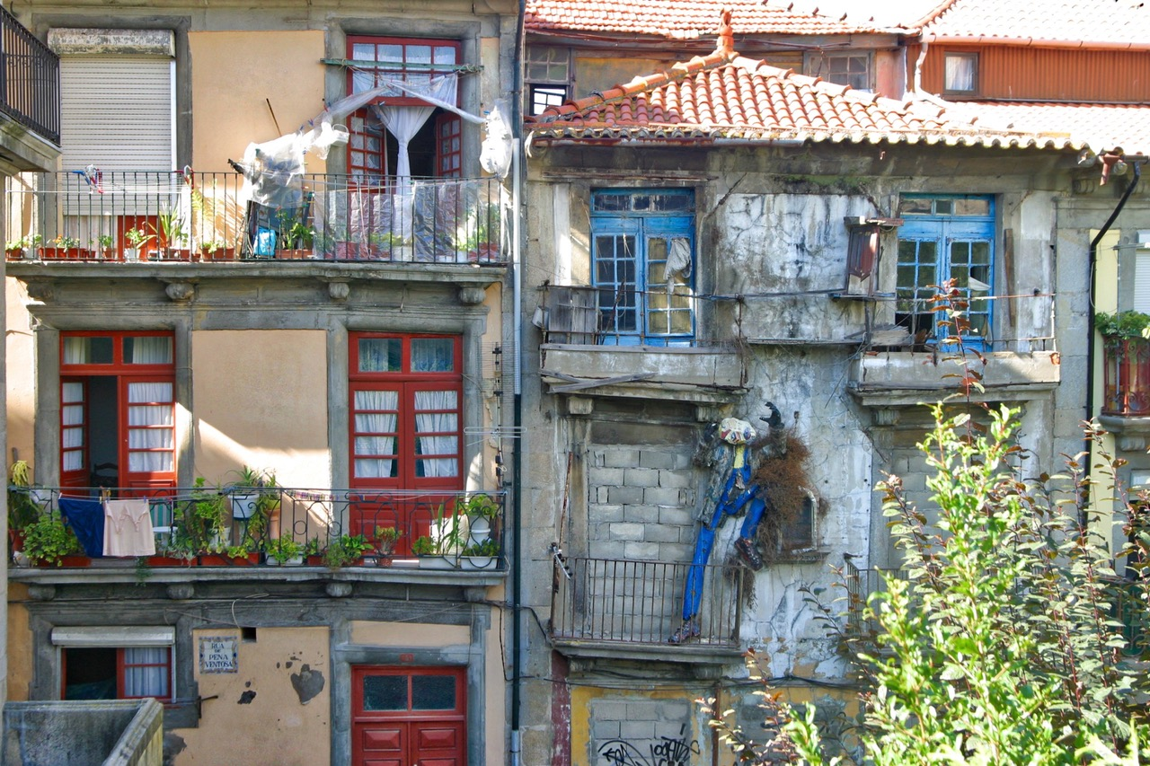The colorful facades of Porto