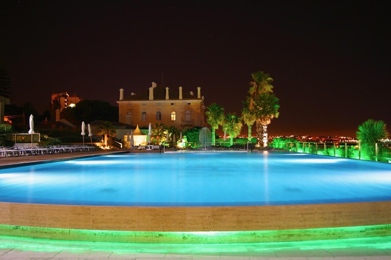 Hotel Miragem pool at night Cascais, Portugal