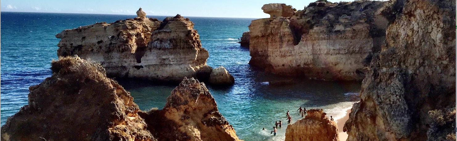 Algarve rocks and coast line, Portugal