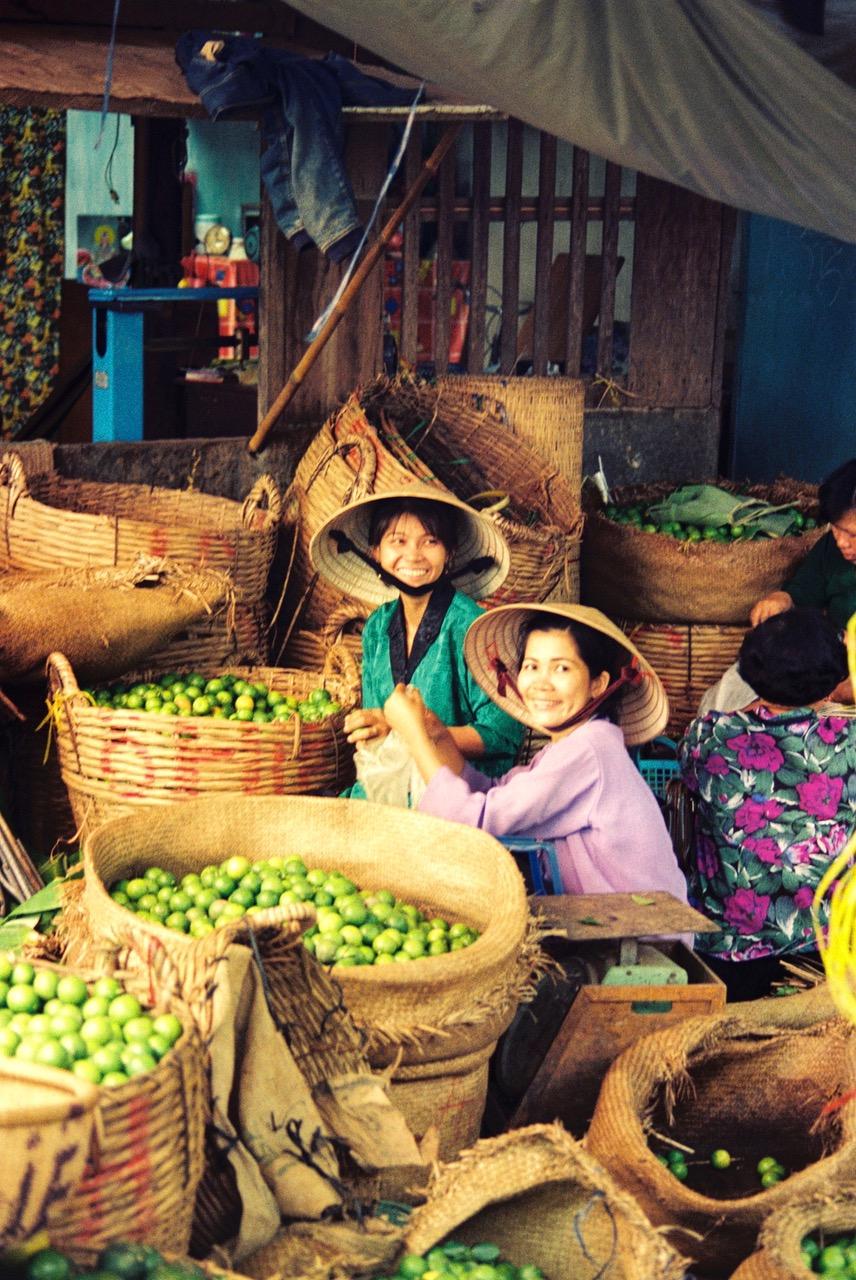 Friendly women at market in Nha Trang, Vietnam