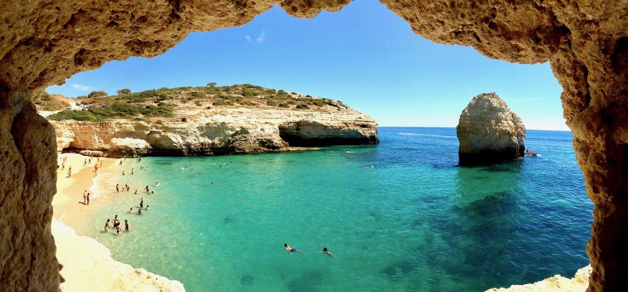 The blue waters of Praia do Carvalho beach, Algarve, Portugal