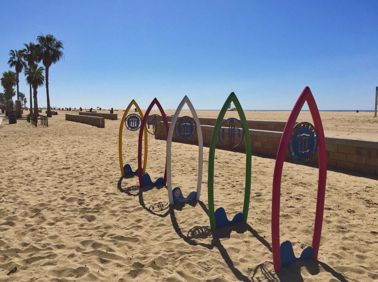 Huntington Beach beach view with surf boards