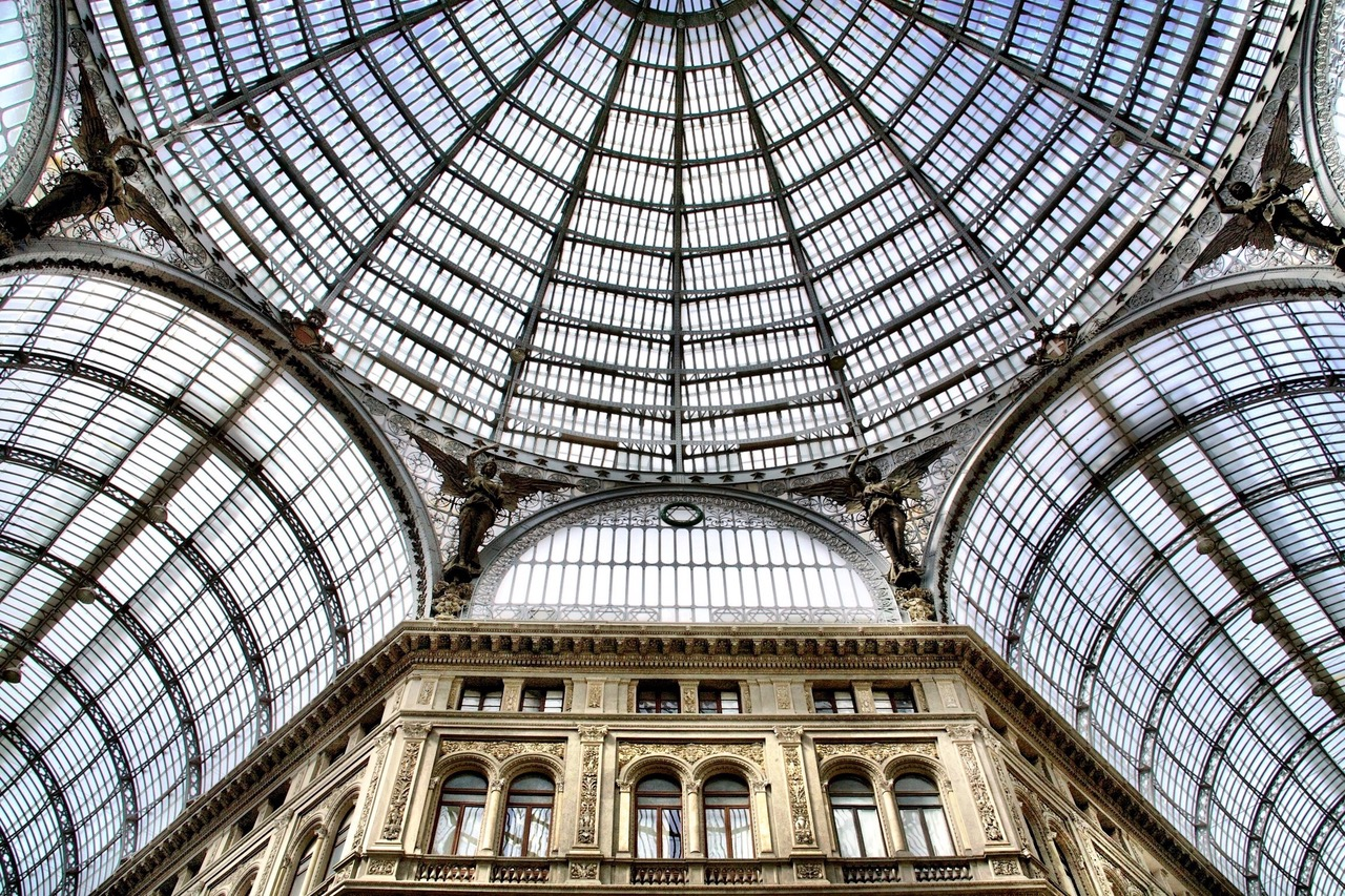 The glass dome of the Galleria Umberto in Naples, Italy