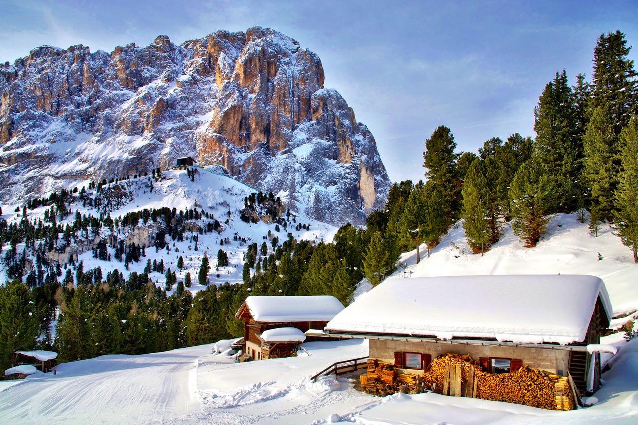 Val Gardena ski huts during stop Sella Ronda Dolomites
