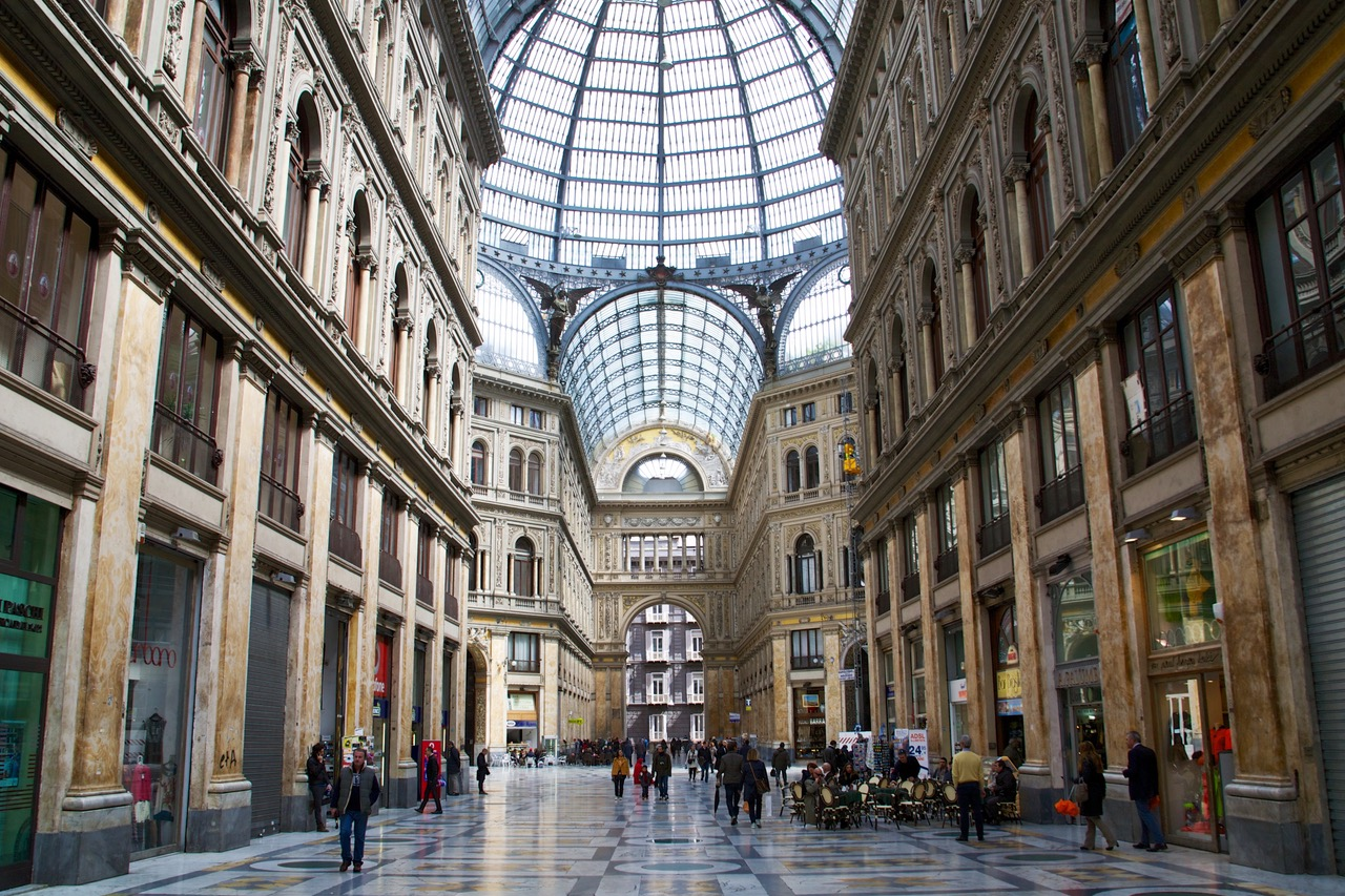 Fancy shopping gallery Galleria Umberto in Naples