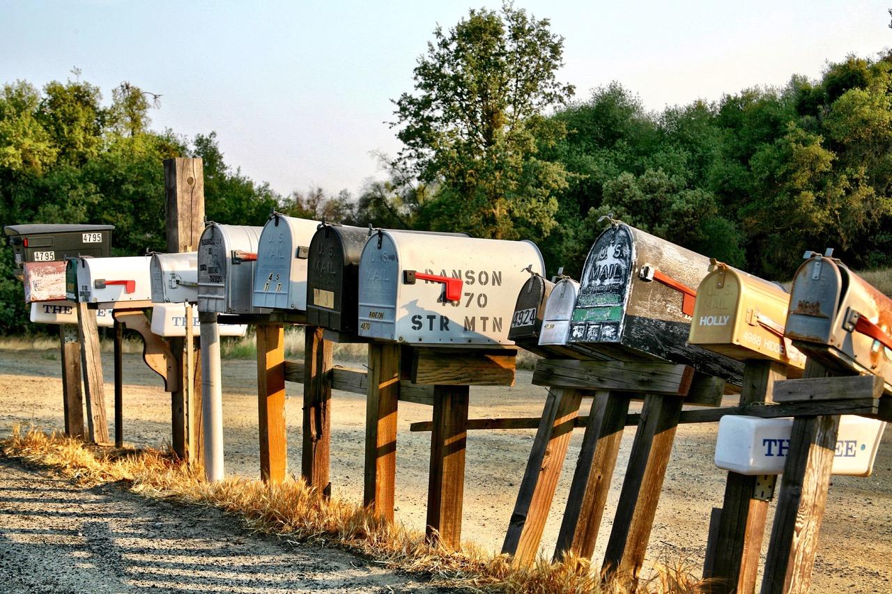 Nice row of mailboxes on highway 49 near Mariposa, California