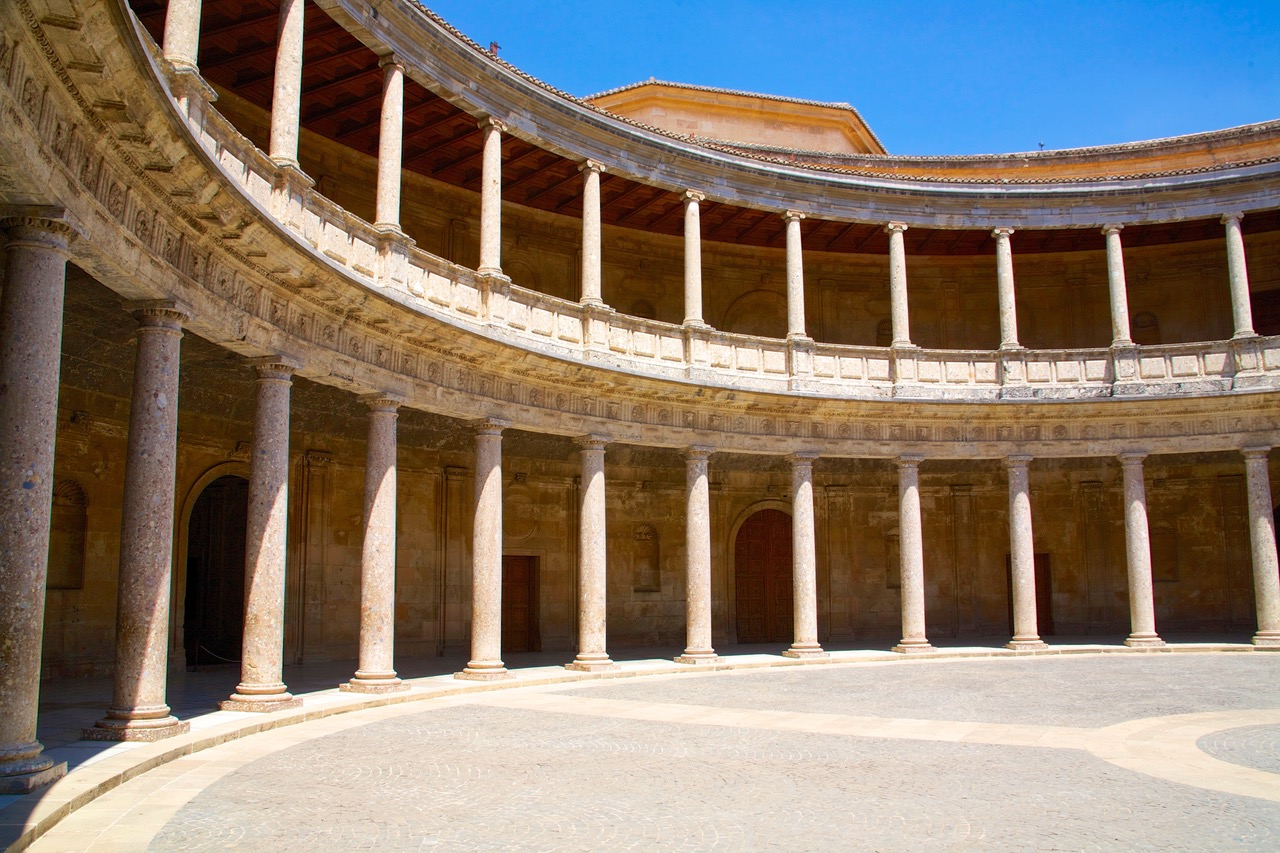 The Patio of the Palace of Charles V in Alhambra, Granada