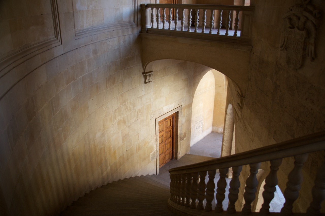 Beautiful lighting at the stairs of The Palace of Charles V, Alhambra, Granada