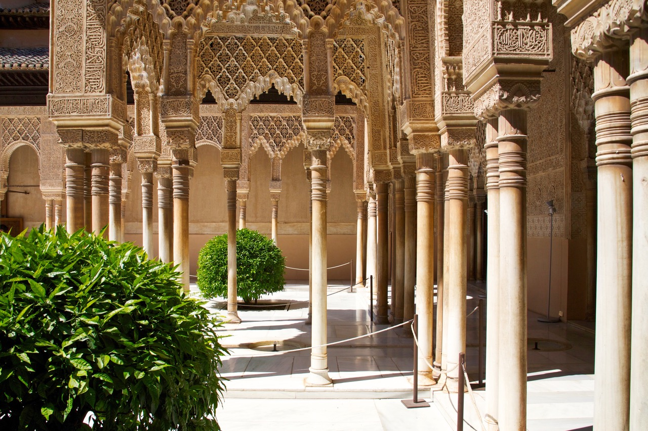Courtyard of the Lions in the Nasrid Palace, Alhambra, Granada