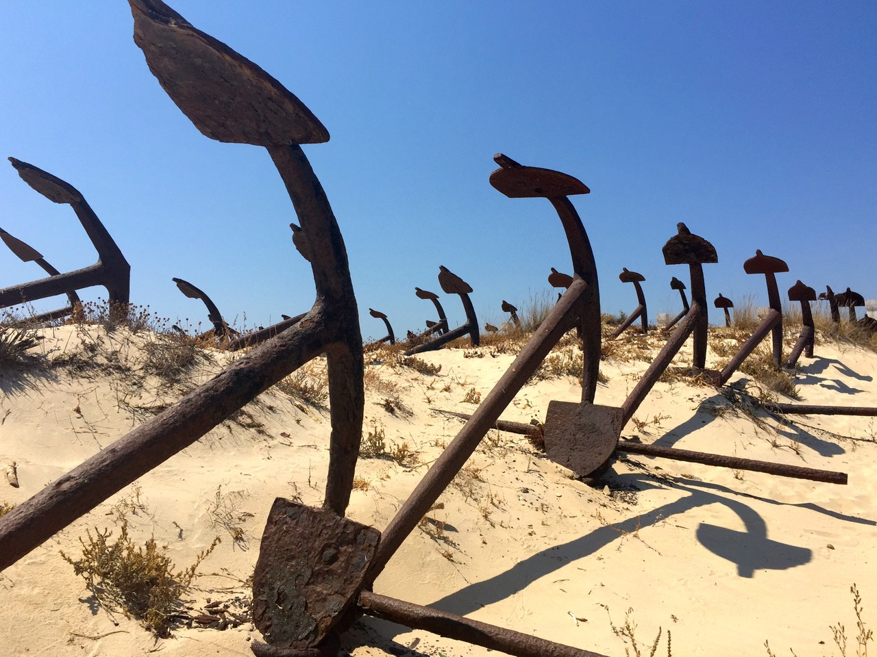 The Anchors Graveyard at Barril Beach, Algarve, Portugal