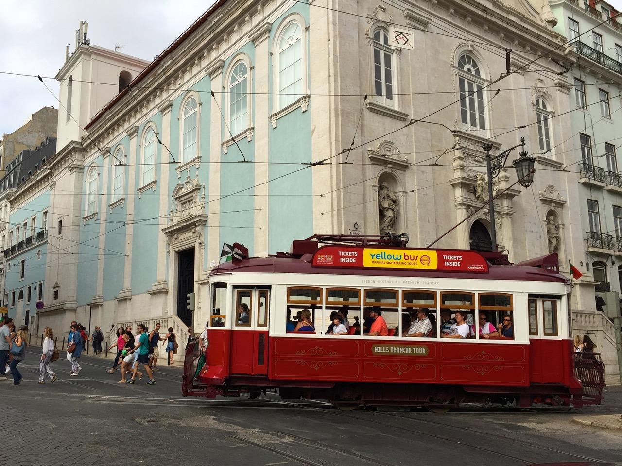 Traditional tram at Largo do Chiado square in Lisbon
