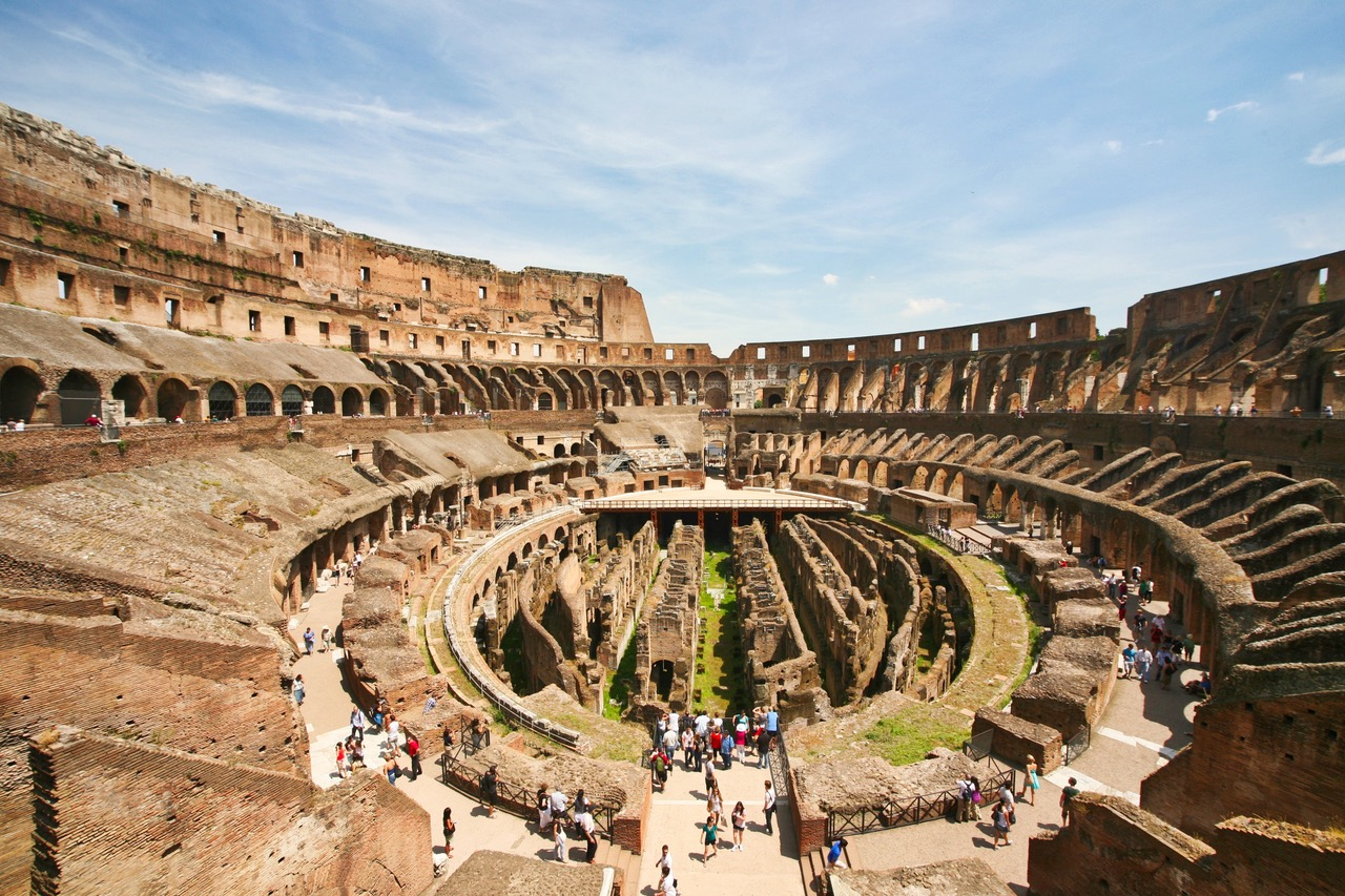 View on the inside of the Colosseum in Rome