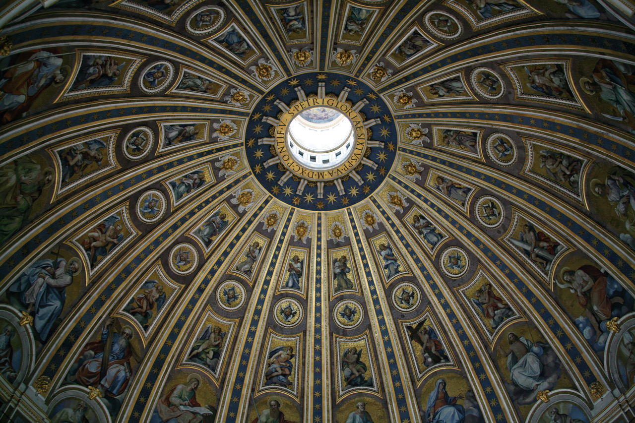 The beautiful mosaics of St. Peter's Dome in Rome