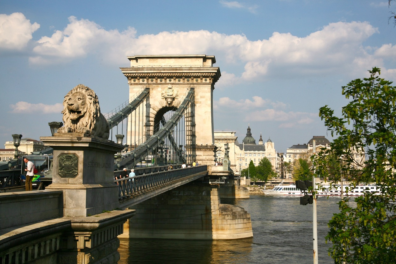The Chain Bridge with lion in Budapest, Hungary