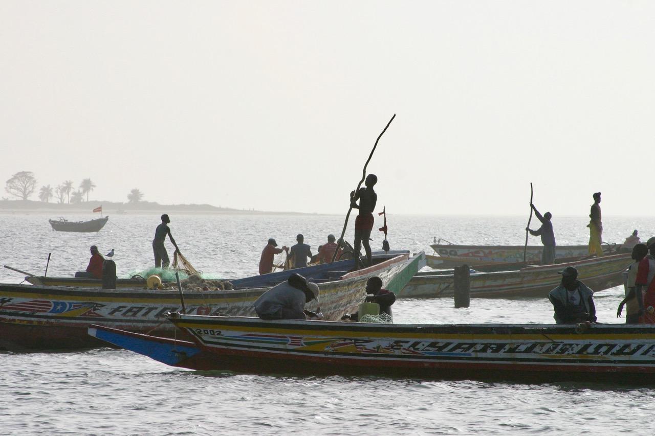Fishermen at work in Tanji, Gambia