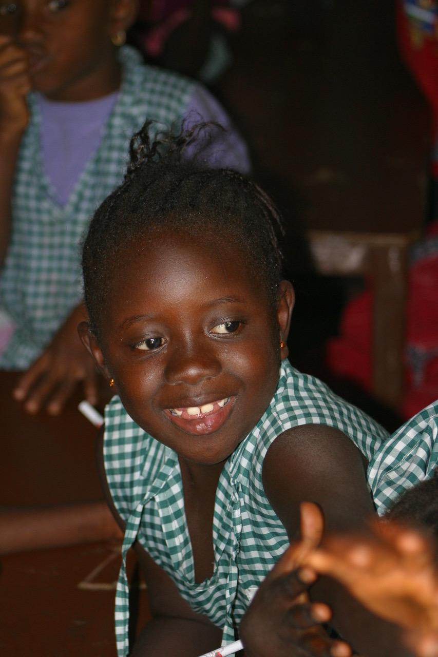 School girl at Jarjou Memorial Nursery School in Gambia