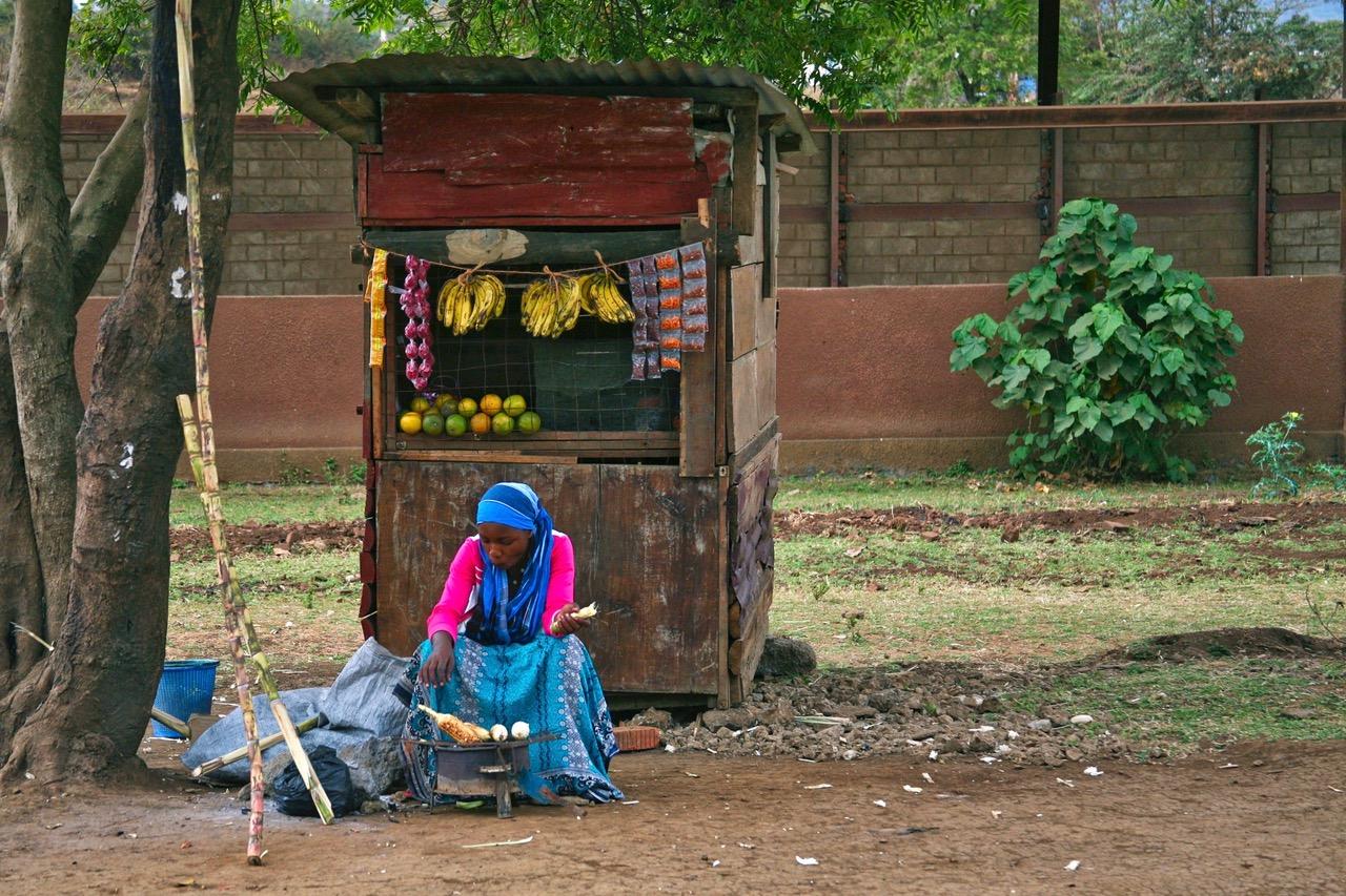 Selling corn and fruit in Arusha, Tanzania