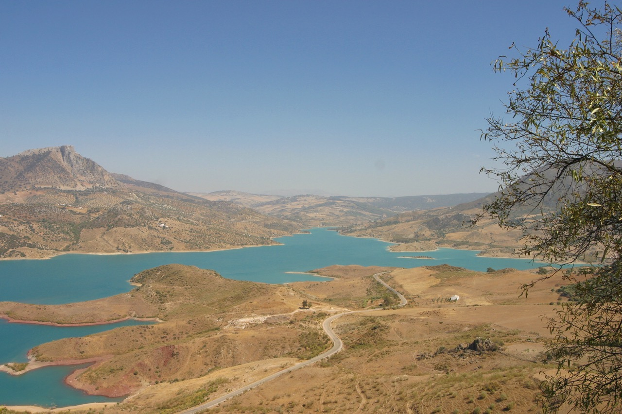 Blue lake of Zahara de la Sierra in Cádiz, Spain