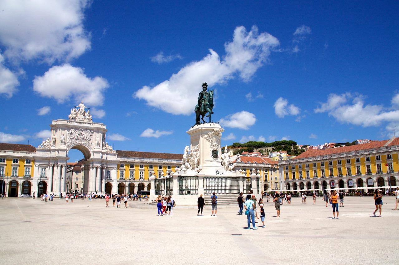 View on the square Praça do Comércio in Lisbon