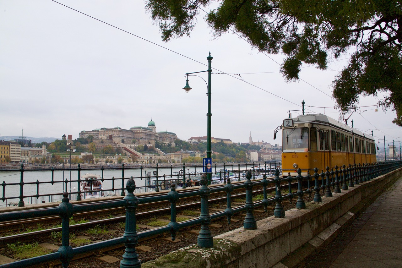 Typical Budapest scene with Buda Castle, The Danube and a Budapest tram