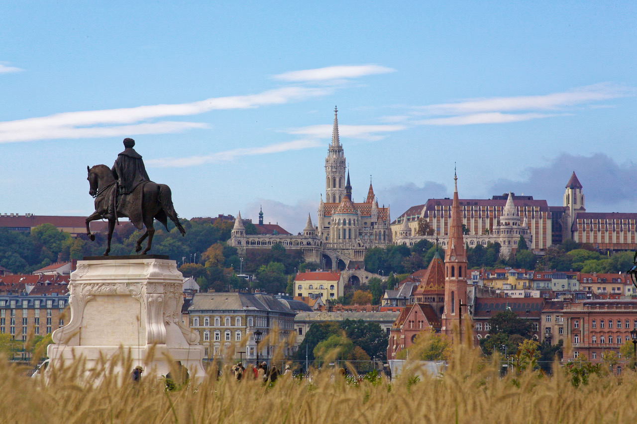 Fisherman's Bastion, seen from Pest bank in Budapest, Hungary
